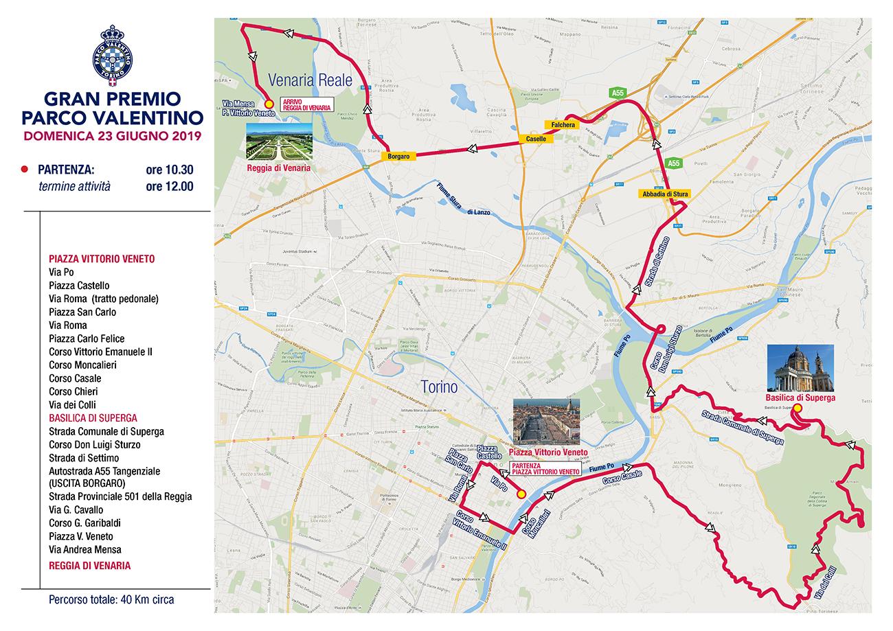 Gran Premio Parco Valentino - Domenica 23 giugno - Percorso